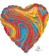 "18"" Marblez Colorful Heart Foil Balloon"
