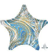 """18"""" Marblez Blue Star Foil Balloon"""