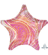 "18"" Marblez Pink Star Foil Balloon"