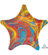"18"" Marblez Colorful Star Foil Balloon"