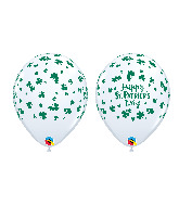 "11"" White (50 Per Bag) St Patrick's Shamrock Latex"