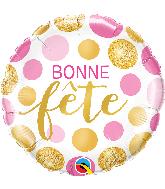 """18"""" Bonne Fete Pois Rose Et Or Foil Balloon"""