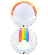 "24"" Rainbow Clouds Deco Bubble Balloon"