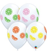 """11"""" White (50 Per Bag) Colorful Fruit Slices Latex Balloons"""