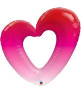 "42"" Pink Ombre Heart Foil Balloon"
