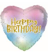 """17"""" Iridescent Heart Happy Birthday Foil Balloon"""