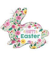 """32"""" Shape Holographic Spring Flowers Easter Bunny Foil Balloon"""