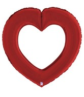 "41"" Linking Heart Satin Red Foil Balloon"
