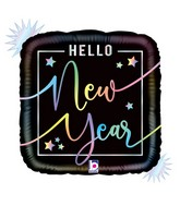 """18"""" Foil Holographic Opal Hello New Year Foil Balloon"""