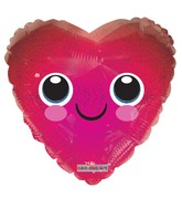 "36"" Heart with Smiley Face Holographic - Foil Balloon"