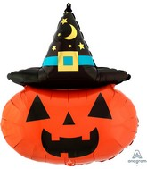 "28"" SuperShape Witchy Pumpkin Foil Balloon"