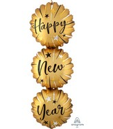 """38"""" SuperShape Satin Infused Happy New Years Bursts Foil Balloon"""