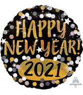 "18"" Happy New Years 2021 Gold & Silver Sparkles Foil Balloon"