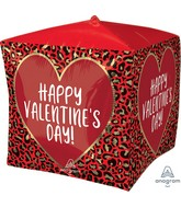 "15"" Ultrashape Cubez Happy Valentine's Day Animal Print Foil Balloon"