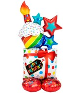 Airfill Only Airloonz Consumer Inflatable Stacked Birthday Icons Foil Balloon