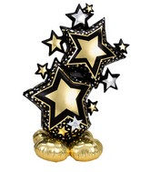 """59"""" Airfill Only Airloonz Consumer Inflatable Star Cluster Black & Gold Foil Balloon"""