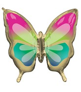 """30"""" SuperShape Beautiful Tropical Butterfly Foil Balloon"""