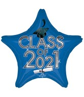 "18"" Class of 2021 - Blue Foil Balloon"