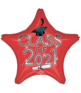 "18"" Class of 2021 - Red Foil Balloon"
