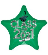 "18"" Class of 2021 - Green Foil Balloon"