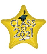 "18"" Class of 2021 - Yellow Foil Balloon"