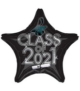 "18"" Class of 2021 - Black Foil Balloon"