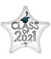 "18"" Class of 2021 - White Foil Balloon"