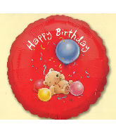 "18"" Happy Birthday Roly Bear Foil Balloon"