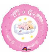 "18"" It's A Girl Roly Bear Foil Balloon"