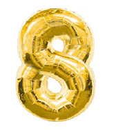 "34"" Jumbo Gold #8 Foil Balloon"