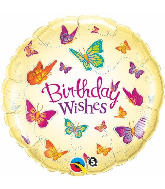 "18"" Birthday Wishes Butterflies Mylar Balloon"