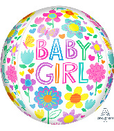 """16"""" Orbz Baby Girl Floral Butterfly Foil Balloon"""