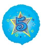 "18"" Standard Blue Stars #5 Foil Balloon"