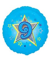 "18"" Standard Blue Stars #9 Foil Balloon"