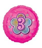 """18"""" Standard Pink Flowers #3 Foil Balloon"""