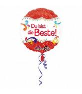 """18"""" Standard Du bist die Beste Foil Balloon"""