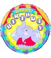 "18"" Happy Birthday Happy Elephant Foil Balloon"