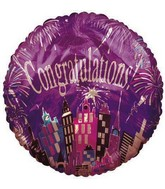 "18"" Congratulation City View Purple Foil Balloon"