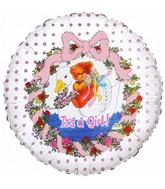 "18"" It's a Girl Flower Bear Foil Balloon"