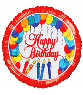 "18"" Happy Birthday Balloons & Candles Foil Balloon"