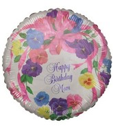 "18"" Happy Birthday Mom Flowers Foil Balloon"