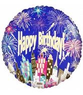 "18"" Happy Birthday City Fireworks Foil Balloon"