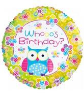 "18"" Happy Birthday Owl Foil Balloon"