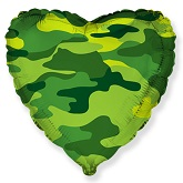 """18"""" Heart Shaped Military Camouflage Foil Balloon"""