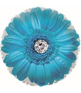 """17"""" Blue Gerbera Flower Foil Balloon"""