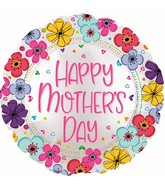 "17"" Happy Mother's Day Floral Border Foil Balloons"