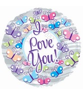 """9"""" Airfill Only I Love You Butterflies Foil Balloon"""