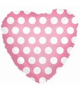 "18"" Pink White Heart Polka Dots Balloon"