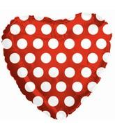 "18"" Red White Polka Dots Heart Balloon"