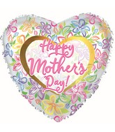 "17"" Happy Mother's Day Graphic Floral Foil Balloons"